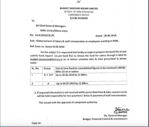 Disbursement of Salary of staff remuneration to employees working in BSNL.