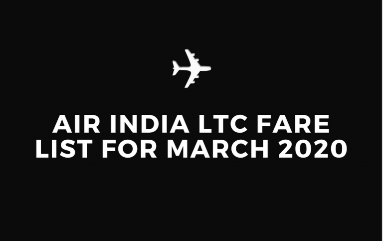 Air India LTC Fare List for March 2020