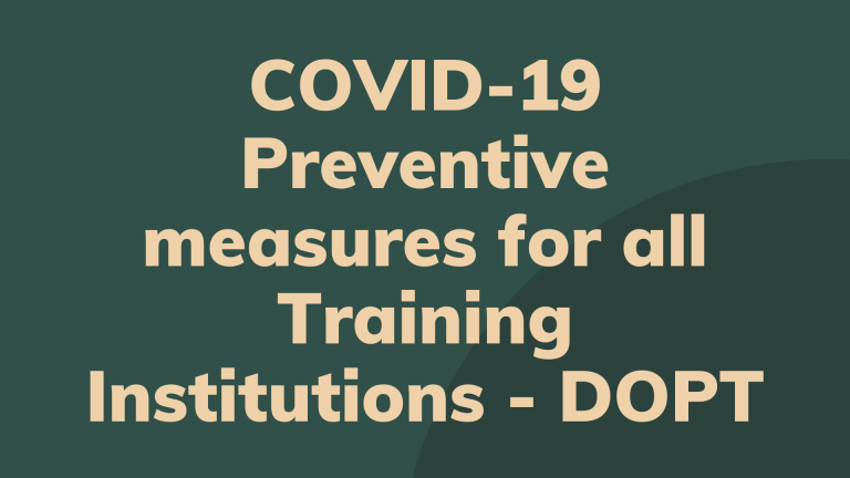 COVID-19 Preventive measures for all Training Institutions - DOPT