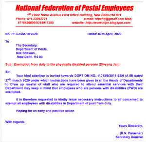 Exemption from duty to the physically disabled persons (Divyang Jan) - NFPE