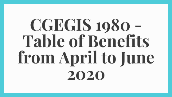 CGEGIS 1980 - Table of Benefits from April to June 2020