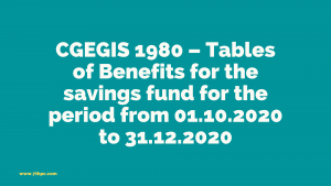 CGEGIS 1980 – Tables of Benefits for the savings fund for the period from 01.10.2020 to 31.12.2020