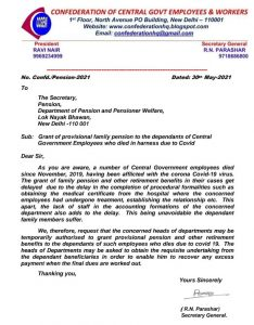 Provisional family pension to the dependents of Central government employees who died in harness due to covid.