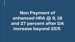 Non Payment of enhanced HRA @ 9, 18 and 27 percent after DA increase beyond 25% - Confederation